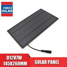 Painel solar 12 v 7 w com 5.5*2.1 conector dc para bomba de água solar powered sistema de energia solar carregador de telefone celular brinquedo diy