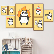 Panda Cartoon Cute Christmas Greeting Wall Art Canvas Painting  Nordic Posters And Prints Pictures Baby Kids Room