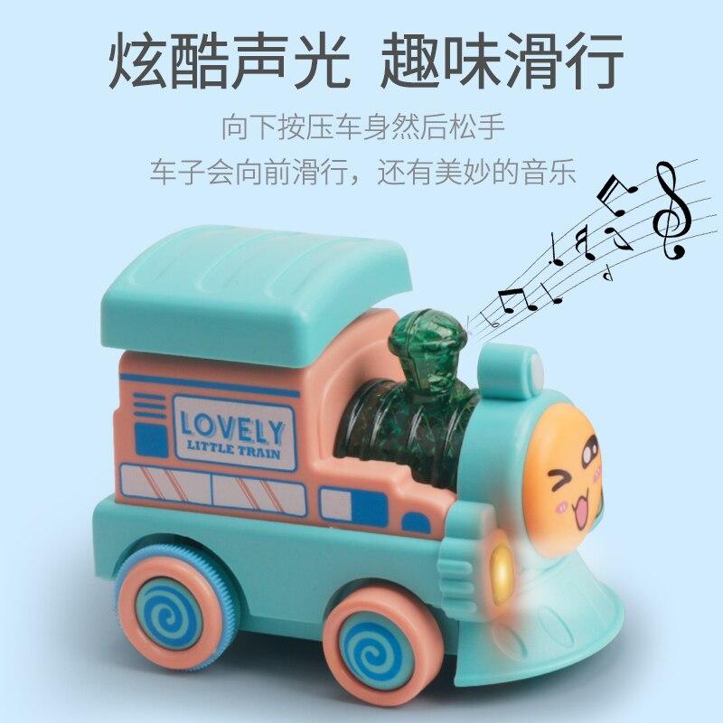 Children pressed inertia car toy train will run boys and girls baby light music toy car back car