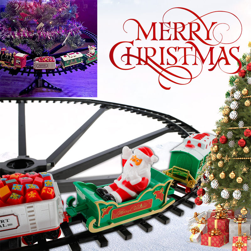 Christmas Train Electric Toys Christmas Tree Decoration Train Track Frame Railway Car With Sound&Light Rail Car Christmas Gifts|Diecasts & Toy Vehicles|   -