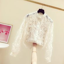 Lace Blouse Woman 2020 Spring New Korean Sweet Crochet Lace Long-Sleeve Shirt Women's Casual Blouses Girls Lady's Top Ropa Mujer(China)