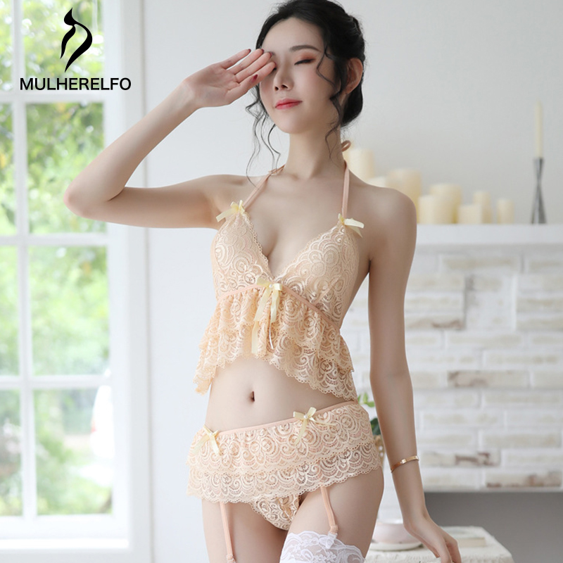 See Through Lace Sexy Pink Mini Pajama For Women Camis Sleeveless Bow Sash Ruffles Cropped Top Briefs Sexy Backless Woman Pyjama