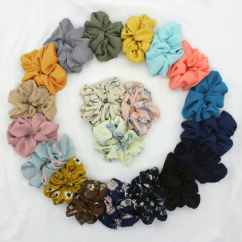 Idg Satin Hair Scrunchies Women Elastic Hair Bands Girls Hair Tie Lady Ponytail Hair Female Holder Rope Print  Hair Accessories