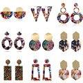 Korean Bunte Geometrische Acryl Harz Ohrringe Einfache Runde Quadrat Dreieck Tropfen Baumeln Ohrringe für Frauen Mädchen Partei Schmuck