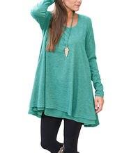 Женский свитер с длинным рукавом модная футболка размера плюс