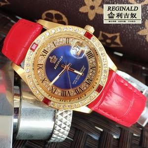 Image 3 - Женские кварцевые часы с большим циферблатом, красные светящиеся модные золотистые наручные часы с кожаным ремешком, Полностью украшенные ювелирными изделиями, 2019