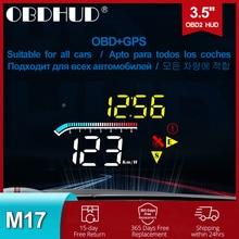 M17 Hud Obd Head Up Display OBD2 Gps Dual Systeem Voorruit Snelheid Projector Security Alarm Water Temp Overspeed Rpm Voltage