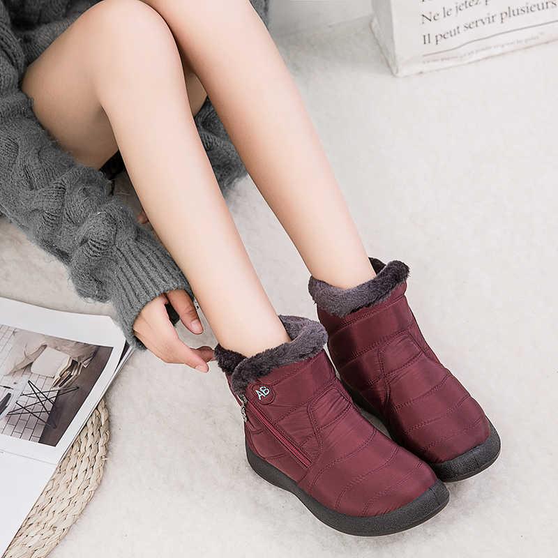 Artı boyutu 35-43 2019 kış yeni kadın botları kar botları kadın tüp kalın peluş su geçirmez rahat yan fermuar pamuk çizmeler