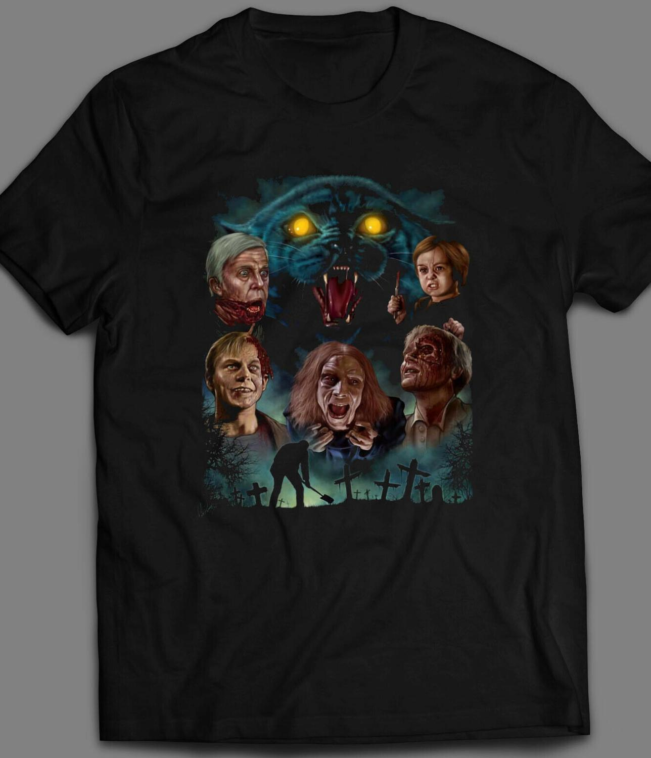 HORROR MOVIE <font><b>PET</b></font> <font><b>SEMATARY</b></font> <font><b>POSTER</b></font> OLDSKOOL T-SHIRT MANY SIZES ajax billie eilish image