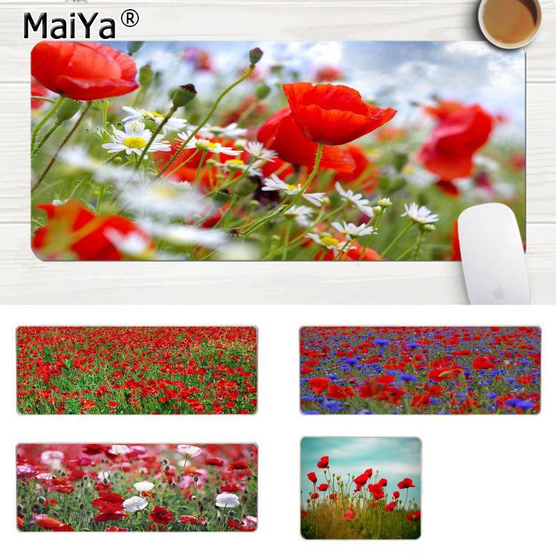 MaiYa nuevas llegadas amapolas rojas flores jugador velocidad ratones de venta al por menor pequeña goma alfombrilla grande Lockedge alfombrilla ratón PC computadora mat