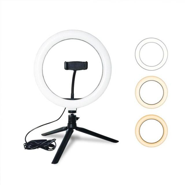 CZ abd fotoğrafçılık LED halka lamba halka ışık stüdyosu fotoğraf Video kısılabilir lamba Tripod standı Selfie kamera telefonu çekim Video