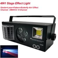 New DJ Disco Strobe Laser Pattern Butterfly 4IN1 LED Effect Light For KTV Family Party Wedding Christmas DMX512 Stage Equipment