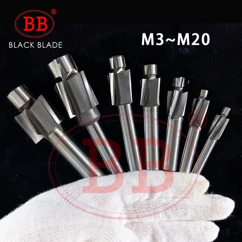 BB 1-8PCS Piloted Counterbore Cutter Flat Bolt Hole Countersink Milling Tool 4 Flutes Pilot M3.2-M20 HSS Spot Router Slot Drill