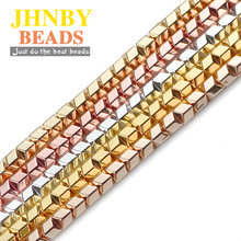 JHNBY 6mm Rose Gold, Silver Arrow Square V Hematite Natural Stone Spacer loose Beads For Jewelry Making Diy Bracelets Necklace()
