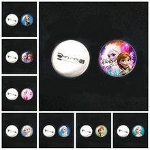 2019/ Stainless Steel Cartoon Anna Snow Queen Explosion Brooch Glass Convex Round Pin Male and Female Brooch Badge Children Gift
