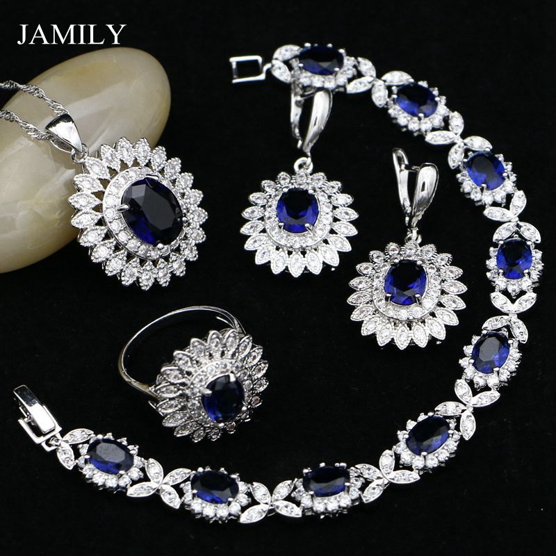 JAMILY 925 Sterling Silver Jewelry Sets Blue Cubic Zirconia Crystal For Women Wedding Earrings/Pendant/Ring/Bracelet/Necklace