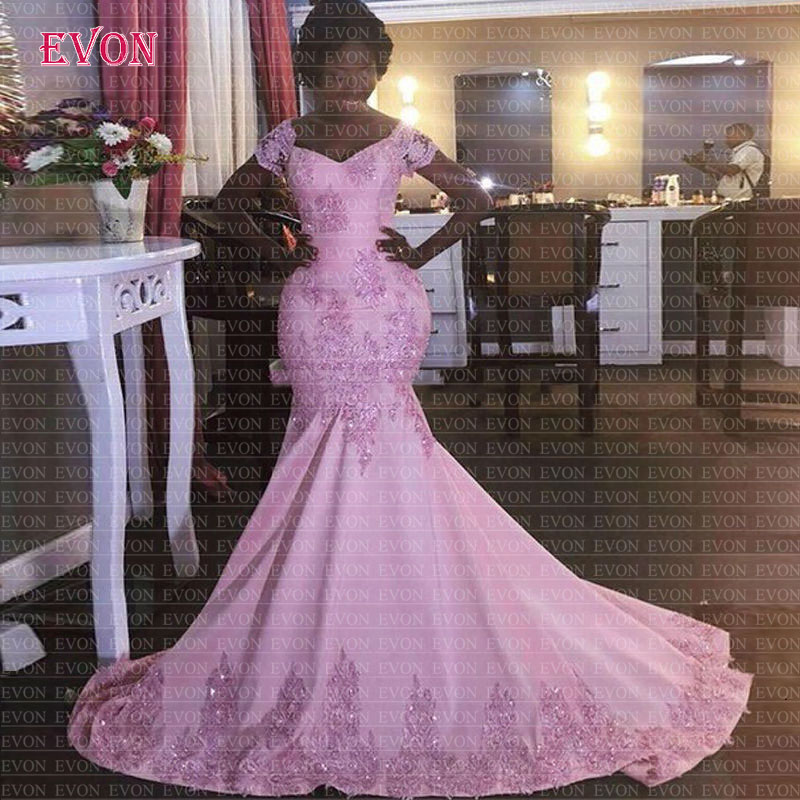 Elegant Pink Mermaid   Evening     Dresses   2020 Vestidos De Festa De Noche V Neck Lace Appliques Formal   Evening   Gowns Robe De Soiree