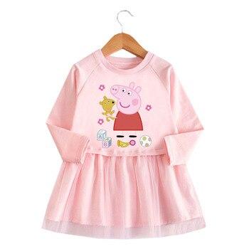 Spring and Autumn Girls Peppa Pig 100%Cotton Dress Cartoon Long Sleeve Polka Dot Baby Princess Pink Gray