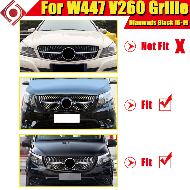 For Mercedes Benz V Class W447 Diamonds grill grille ABS Gloss Black V250 V260 Front Bumper Racing grills Without Sign 2016 2019 in Racing Grills from Automobiles Motorcycles