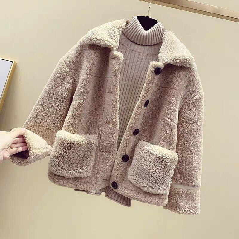 MUMUZI Women's Fur Coat Faux Sheepskin Fur Jackets Thick Warm Fake Fleece Parkas Ladies Winter Thermal Outerwear Teddy Bear Coat
