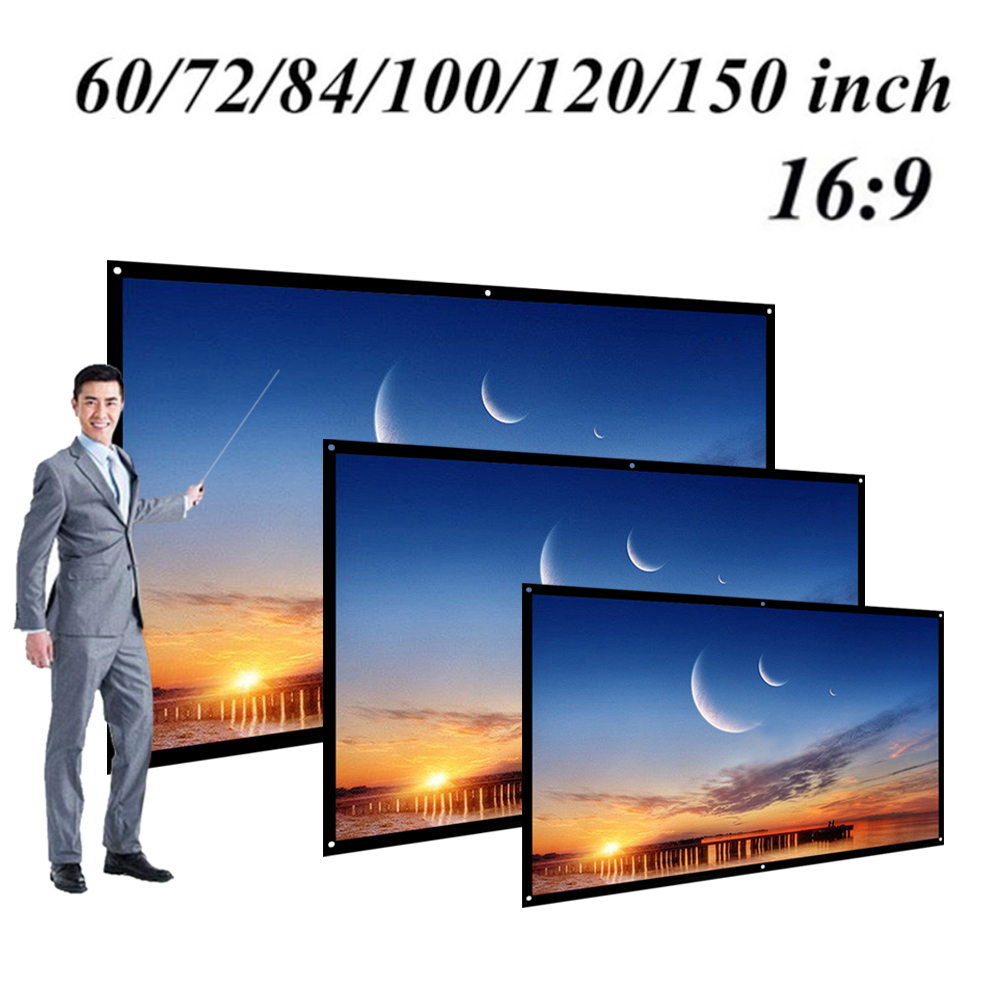 60/72/84/100/120 inch Projector Screen HD 16:9 White Dacron Diagonal Video Projection Screen Wall Mounted for Home Theater Movie|Projection Screens|   - AliExpress