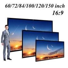 60/72/84/100/120 inch Projektor Bildschirm HD 16:9 Weiß Dacron Diagonal Video Projektion Bildschirm Wand Montiert für Heimkino Film