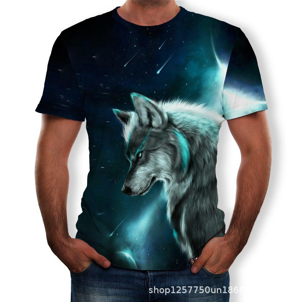 Short sleeve wolf Print T-shirt New Men/'s T-shirt 1Pcs Round neck Fashion