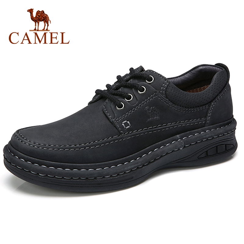 CAMEL Genuine Leather Men Shoes Summer Hand Stitching Men's Daily Round Strap Casual Shoes Lace-up Luxury Brand Male Footwear