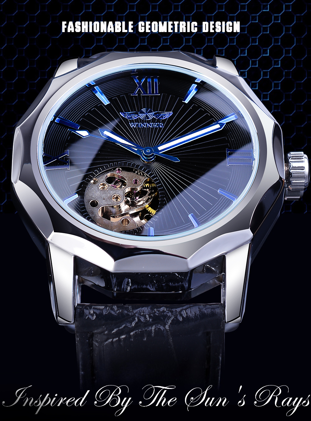 H398fa3a2737a497095096f0e82dd74f9I Winner Blue Ocean Geometry Design Transparent Skeleton Dial Mens Watch Top Brand Luxury Automatic Fashion Mechanical Watch Clock