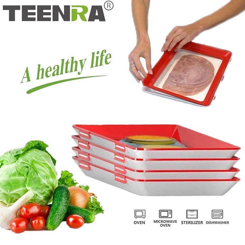 TEENRA креативный поднос для хранения еды, Штабелируемый поднос для свежей пищи, волшебный эластичный поднос для свежести, многоразовый конте...