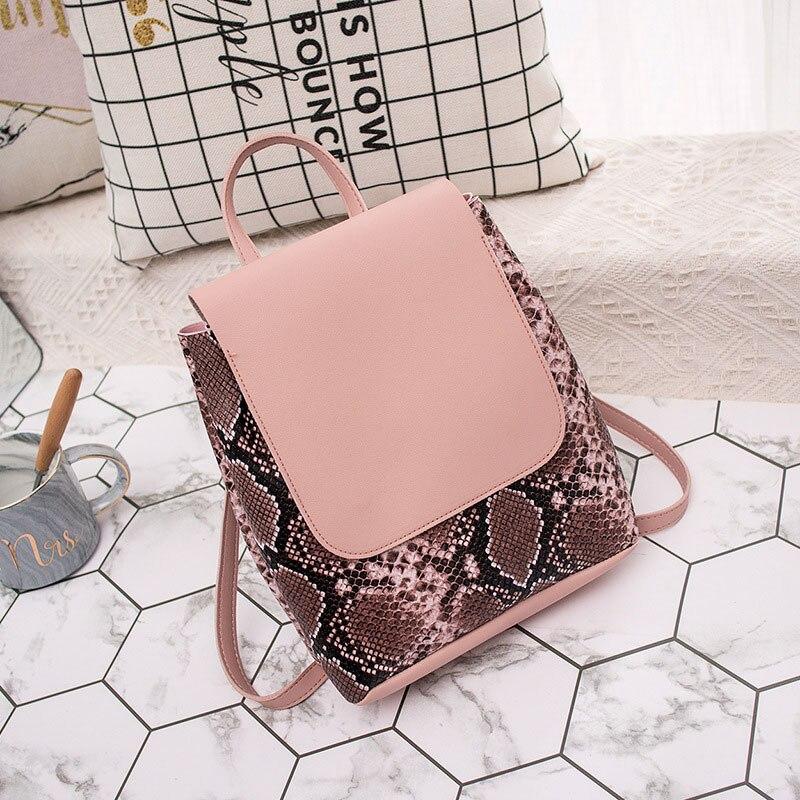 Mini Women Backpack  Brand Fashion Small Shoulder Bags PU Leather Female Hand Bag Serpentine Prints Min Bagpack For Ladies Girls