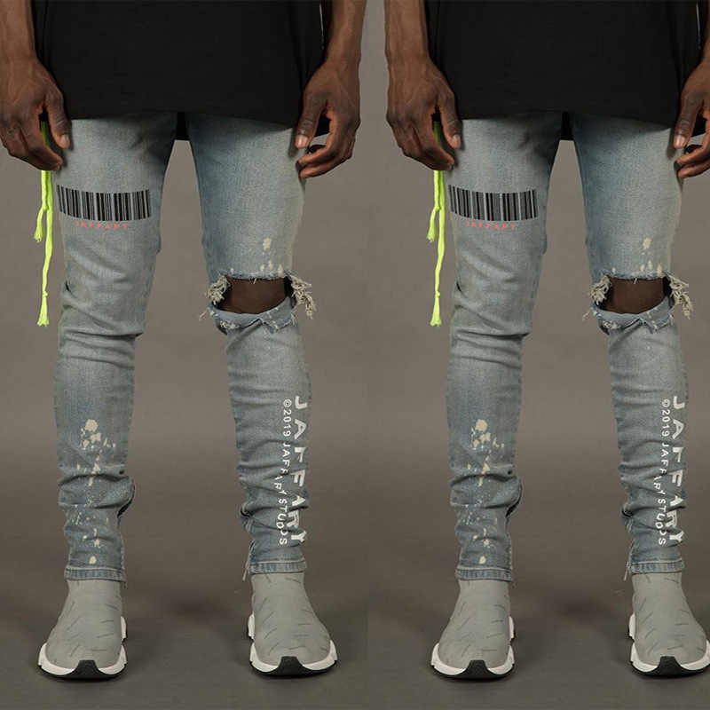 Bar Code Print Zerrissene Löcher Jeans Für Männer Hip Hop Punk Slim Fit Denim Hosen Mode Streetwear Distressed Hosen Plus größe 3XL