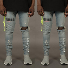 цена Bar Code Print Ripped Holes Jeans For Men Hip Hop Punk Slim Fit Denim Pants Fashion Streetwear Distressed Trousers Plus Size 3XL онлайн в 2017 году