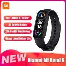 Xiaomi – montre connectée MI Band 6, écran AMOLED 1.56 pouces, bluetooth 5.0, moniteur d'activité physique, 30 Modes de sport, étanchéité 5atm, application MI Fit, sommeil, fréquence cardiaque