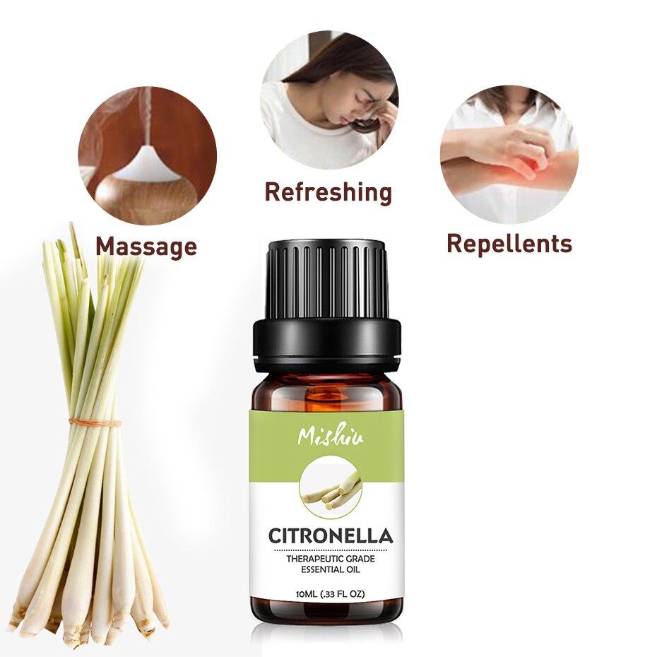 Mishiu Citronella Pure Essential Energy Oil CedarWood Rose Cinnamon Chamomile Ginger Diffusers Skin Care Oil Relieve Stress 10ML