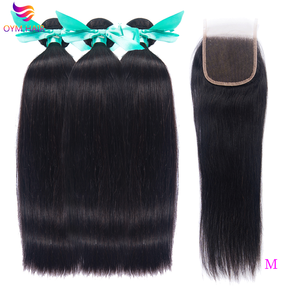 OYM HAIR Straight Hair Bundles With 5X5 Lace Closure Non-Remy Brazilian Human Hair Weave Bundles With Closure Hair Extension