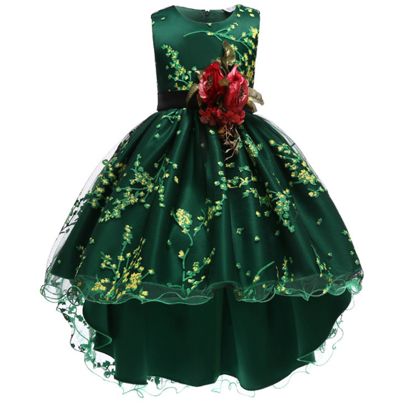 Baby Girls Flower Princess Ball Gown Party Tutu Trailing Dress For Brithday Wedding Kids Christmas Dresses Children Clothing 6