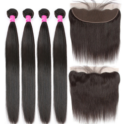 Malaysian Straight Human Hair 4 Bundles With Frontal Closure Tuneful 100% Remy Hair Weft 13x4 Lace Frontal Closure With Bundles