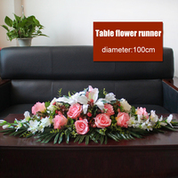 Rose Simulation table flower conference table fake flower runner hotel turntable round large flower arrangement table decoration