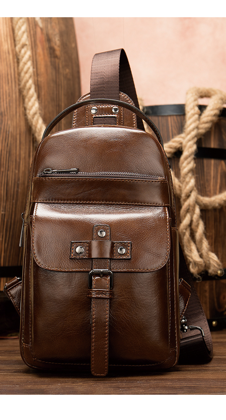 Vintage Men Chest Pack Crazy Cowhide Leather Crossbody Chest Bag Small Shoulder Pack For Male Casual Pack Belt Bag Male's Bag