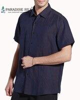 Men's Short Sleeves Shirt Gambired Canton Gauze Classic Pure Silk Short Sleeves Shirt Size L XL XXL XXXL