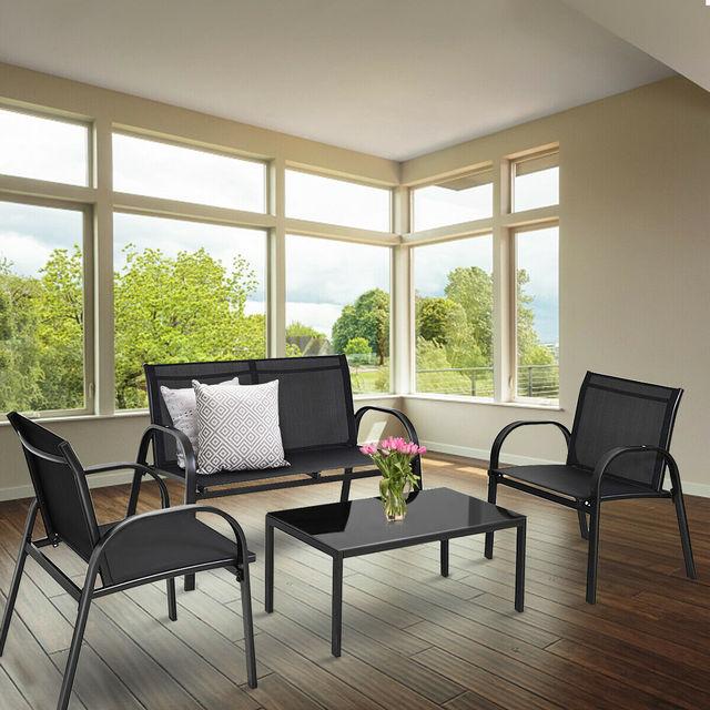 4 PCS Patio Furniture Coffee Table Set 3
