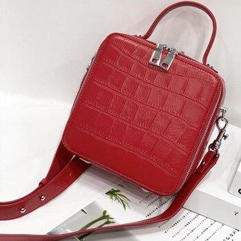 Ladies Fashion Handbags Genuine Leather Messenger Small Square Bag Trendy Cowskin Women Messenger Bag Shoulder Bag