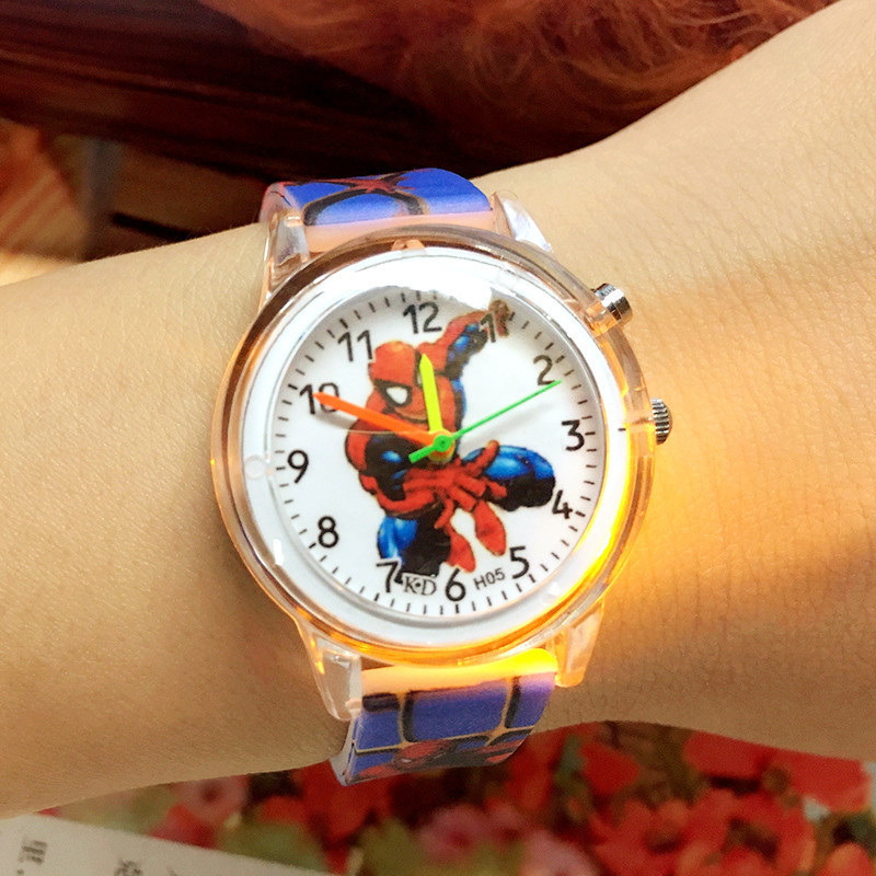 Elsa Princess Children Watches Spiderman Colorful Light Source Boys Watch Girls Kids Party Gift Clock Wrist Relogio Cute Cartoon