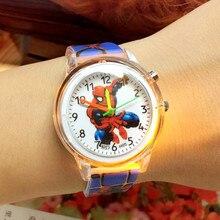 Elsa Princess Children Watches Spiderman Colorful Light Source Boys Watch Girls Kids Party Gift Clock Wrist Relogio Cute Cartoon