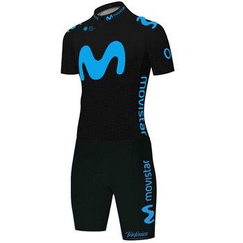 Movistar-Camiseta de ciclismo negra para hombre, mono de ciclismo, traje de triatlón,...