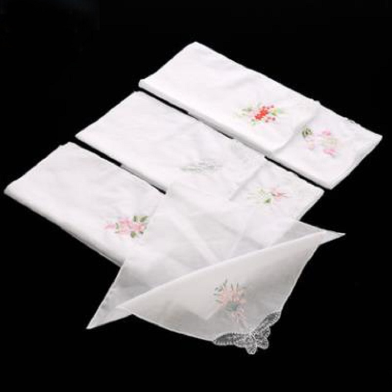 12 Pcs/lot 100% Cotton Solid  White Embroidered Handkerchief With Lace Corner Embroidery Handkerchief  Export Item 29cm*29cm