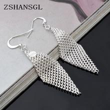 Hot Sale Simple Reticular Rhombus Silver Stud Earrings for W
