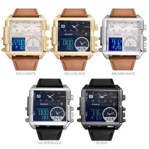 Image 5 - Reloj marca BOAMIGO para hombre, 3 zonas horarias, reloj con LED militar, de cuarzo, de cuero, masculino