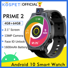 "orologi intelligenti KOSPET PRIME 2 smartwatch Men 4GB 64GB Smart Watch 13MP fotocamera 1600mAh 2.1 ""Android 10 orologio 4G telefono WIFI orologio uomo digitale GPS Smartwatch 2020 per Xiaomi huawei Samsung Iphone"